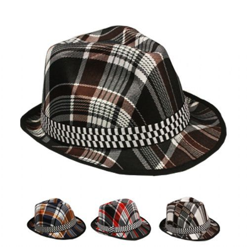 STRIPED FEDORA HATS WITH CHECKERED BAND