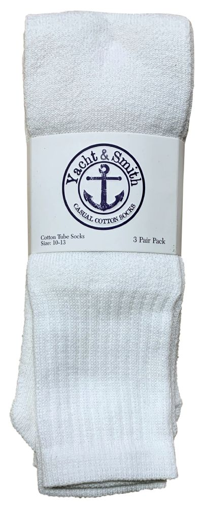 Yacht & Smith Men's 22Inch Cotton Tube Socks, Referee Style, Size 10-13 Solid White