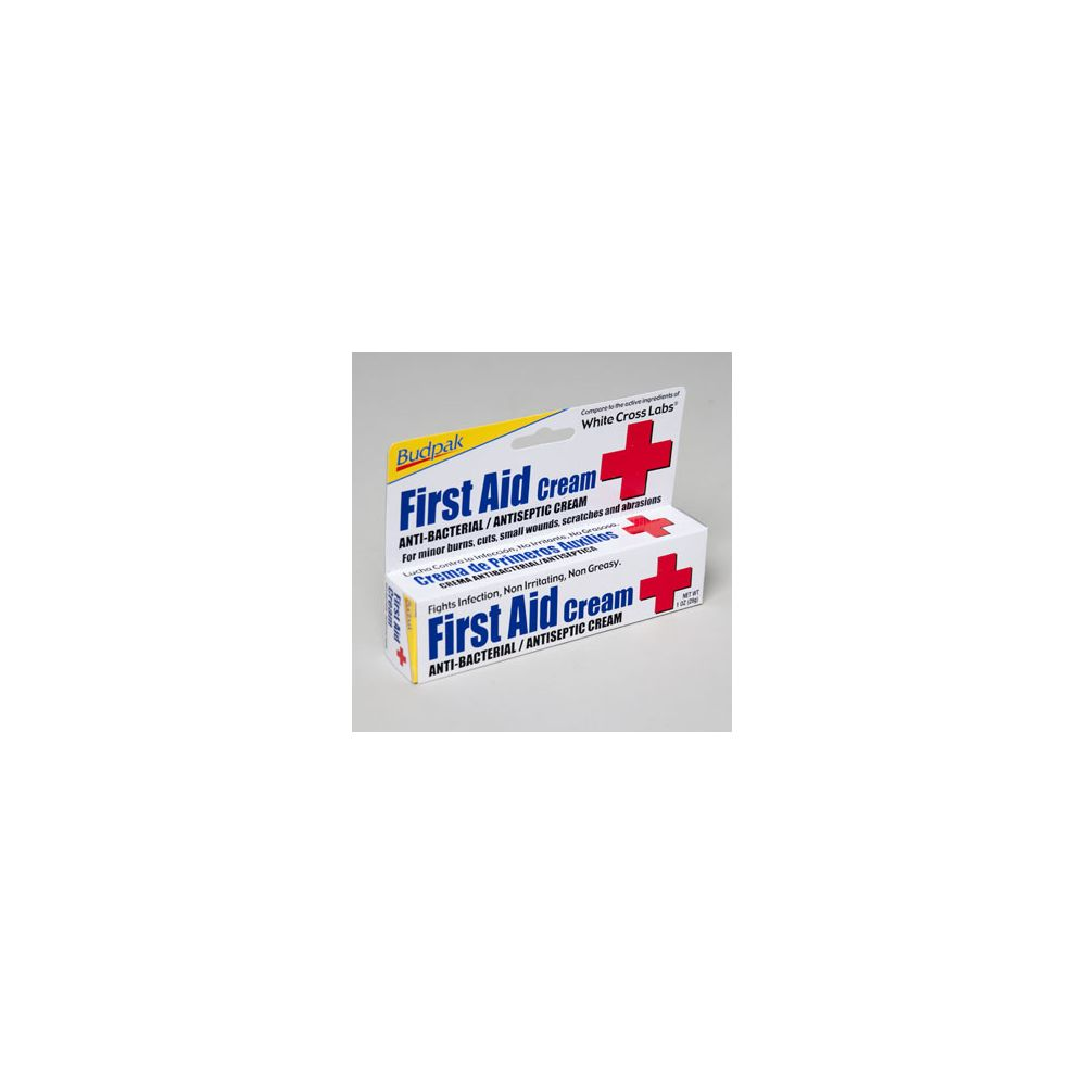 First Aid Cream 1 Oz Anti-bacterial 5 Panel Color Boxed Budpak