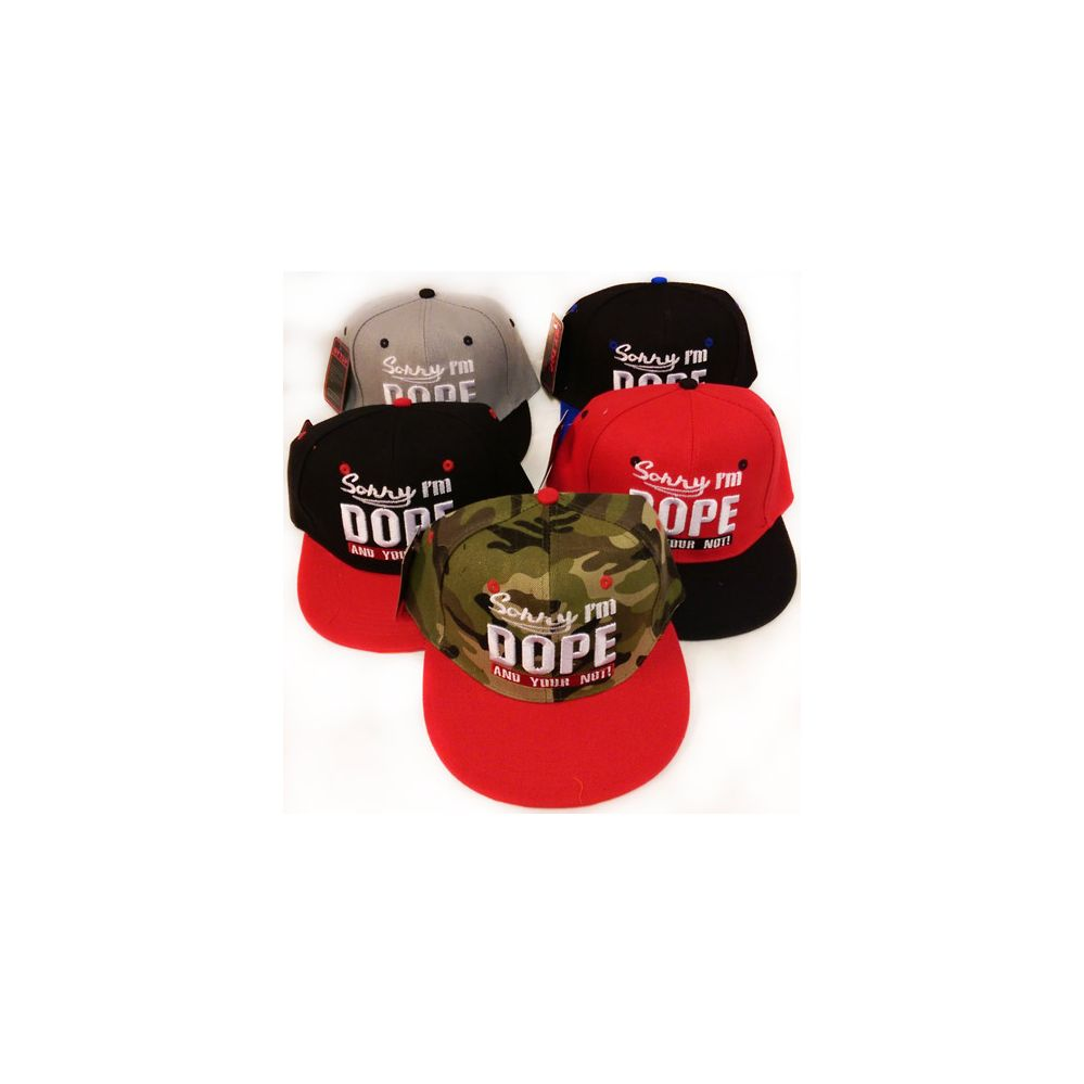 Snap Back Flat Bill Sorry I'm Dope Hat Assorted Colors