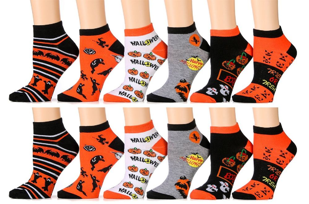 Excell Womans Halloween Design Printed Ankle Socks