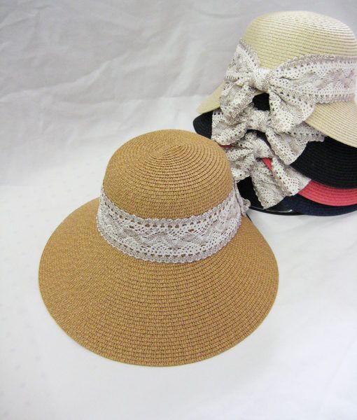 Womens Fashion Summer Hat With Lace Ribbon
