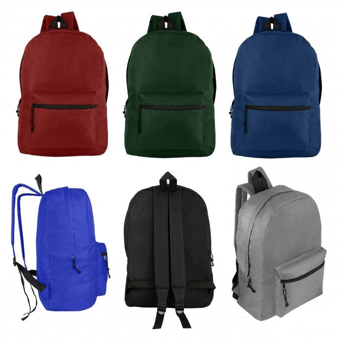 """17"""" Wholesale Basic Backpack in 6 Assorted Colors"""