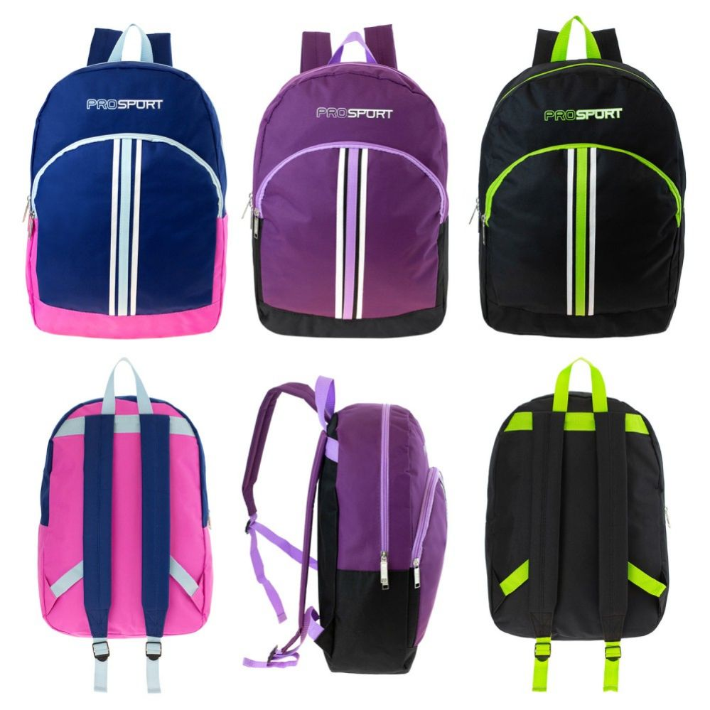 """17"""" Wholesale Kids Sport Backpacks in 3 Assorted Colors"""