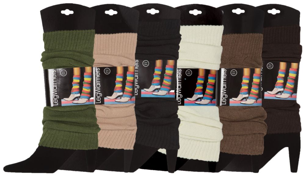 Womens Warm Winter Leg Warmers, Soft Colorful and Trendy (6 PACK ASSORTED A)