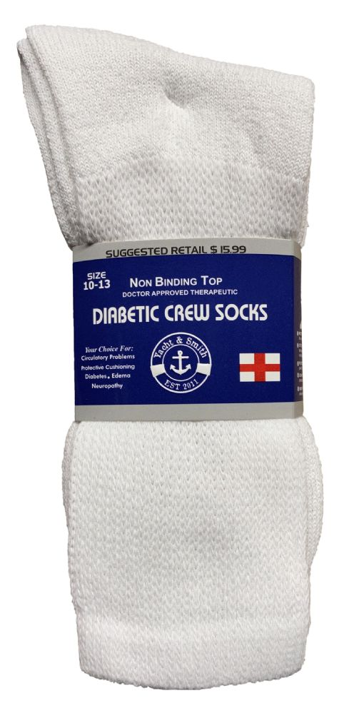Yacht & Smith Men's Loose Fit Non-Binding Soft Cotton Diabetic Crew Socks Size 10-13 White BULK PACK
