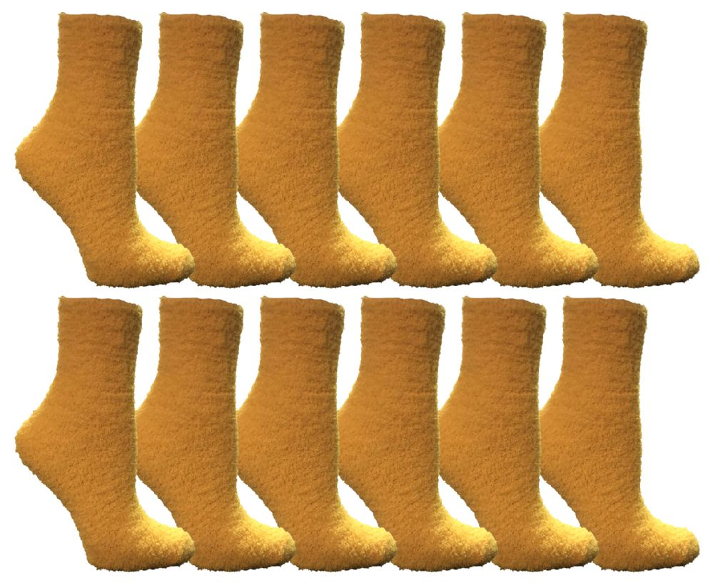 Yacht & Smith Women's Fuzzy Snuggle Socks Dark Yellow, Size 9-11 Comfort Socks