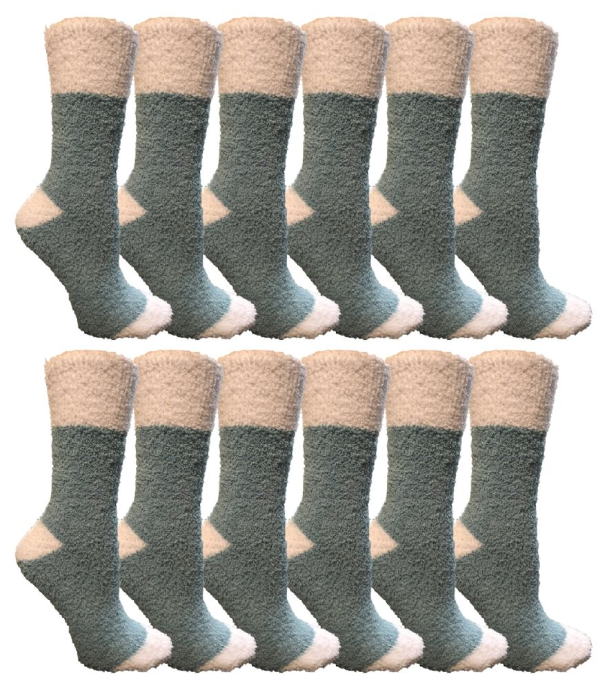 Yacht & Smith Women's Fuzzy Snuggle Socks , Size 9-11 Comfort Socks Teal With White Heel and Toe