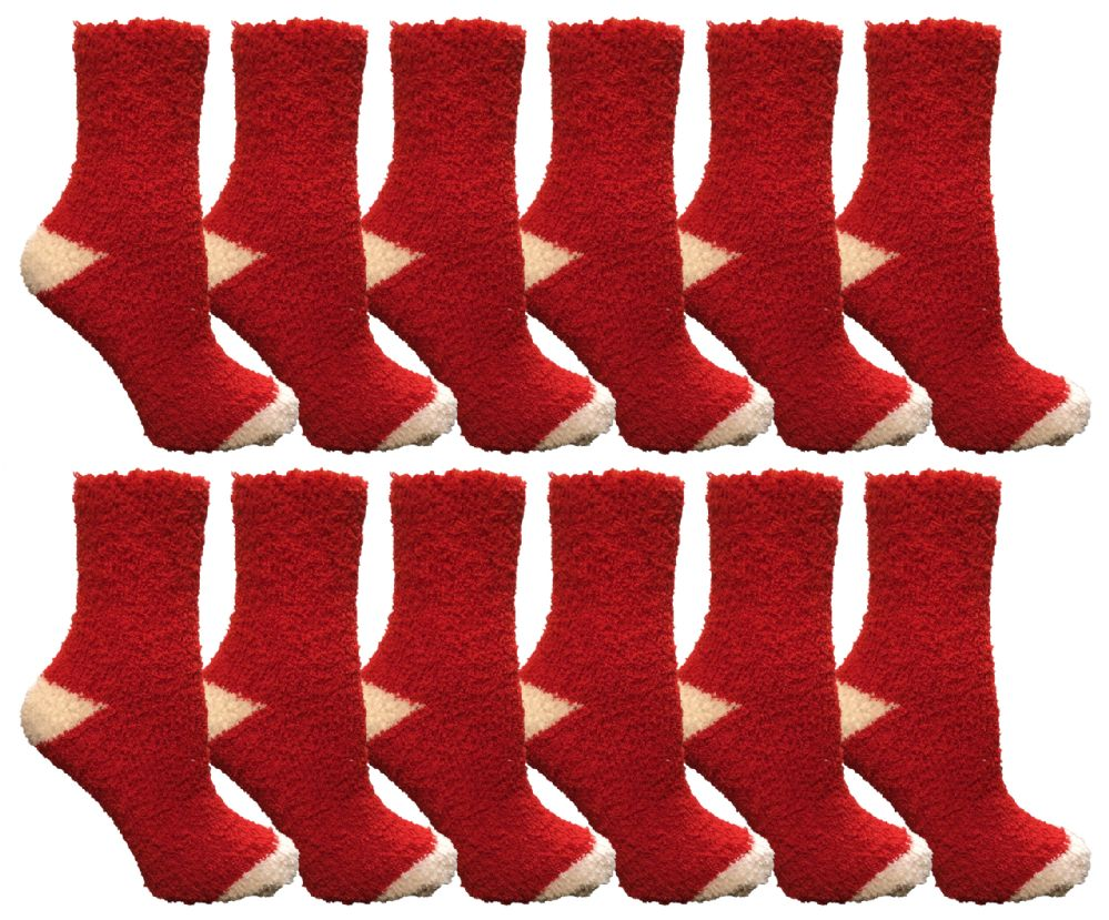 Yacht & Smith Women's Fuzzy Snuggle Socks , Size 9-11 Comfort Socks Red With White Heel and Toe