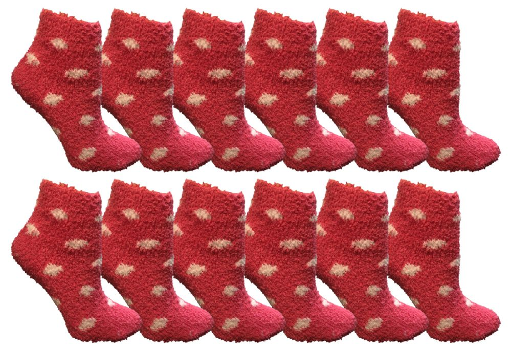 Yacht & Smith Girls Fuzzy Snuggle Socks Pink Polka Dots Size 6-8