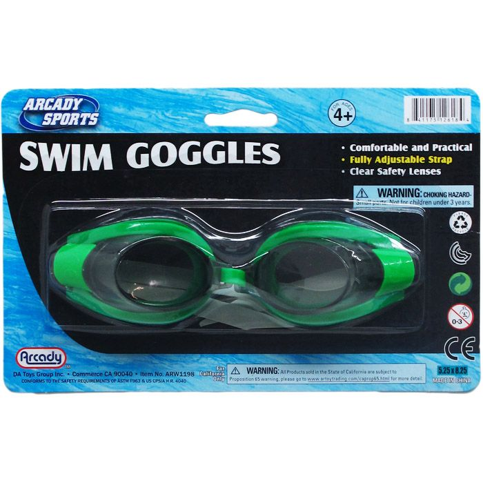 """6"""" Swimming Goggles On Blister Card, 3 Assorted Colors"""