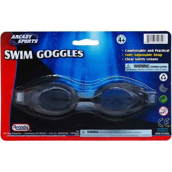 """6.75"""" Swimming Goggles On Blister Card, 2 Assrt Clr"""