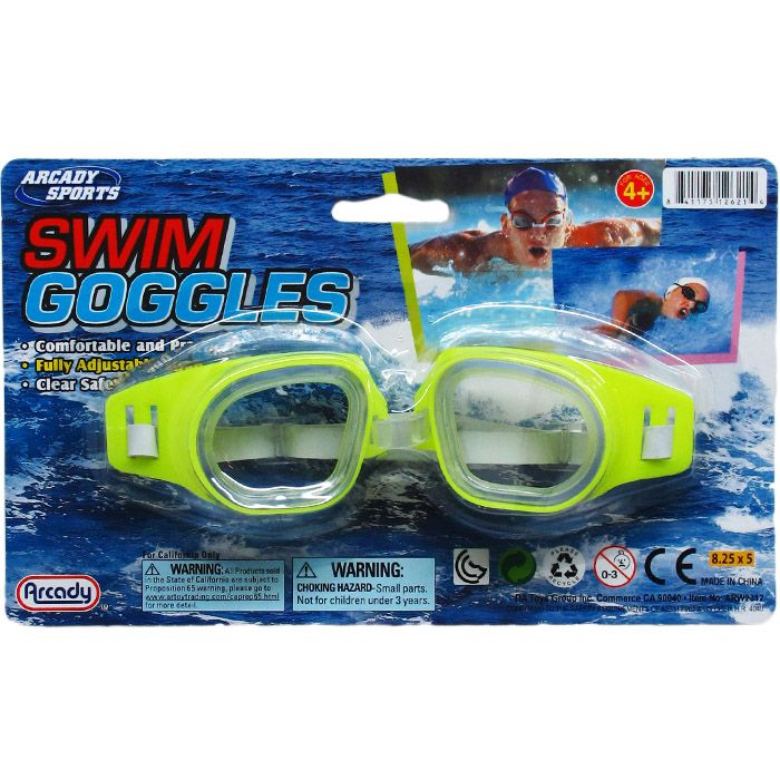 """6"""" Swimming Goggles On Blister Card, 4 Assrt Clrs"""