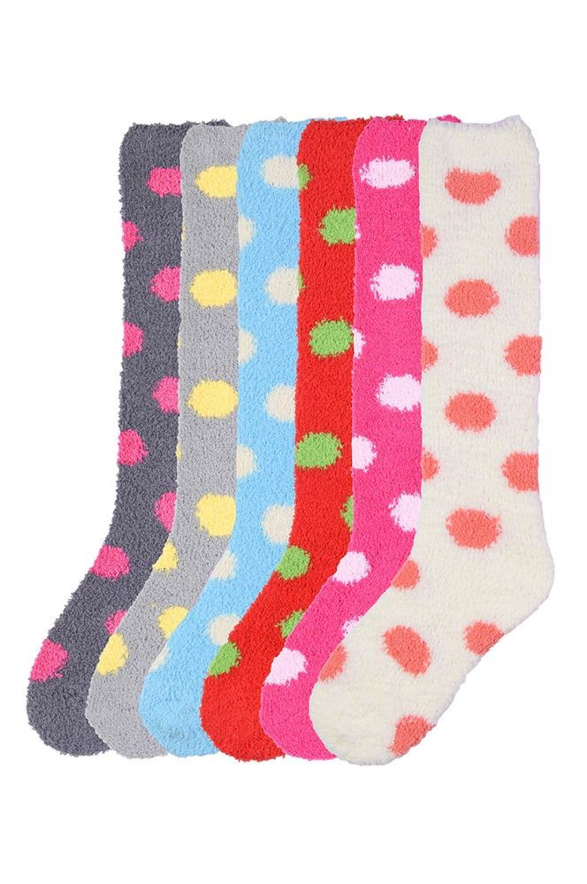 Womens Polka Dot Print Fuzzy Plush Knee High Socks