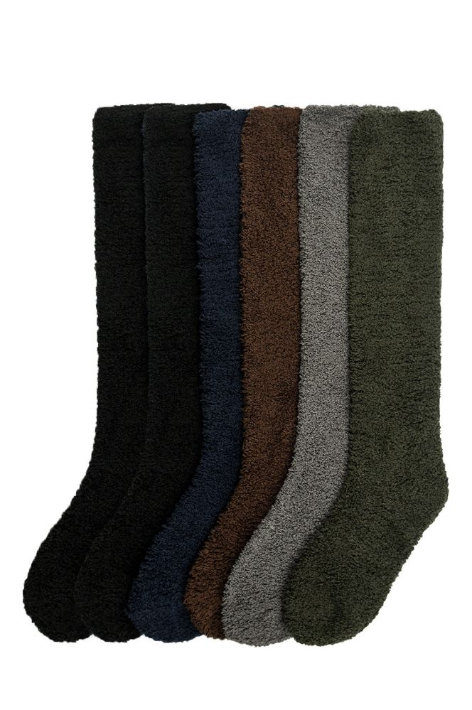 Womens Solid Dark Color Soft Touch Fuzzy Knee High Socks