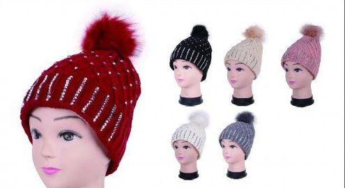 Women Winter Acrylic Diamond Pompom Knitted Beanie Hats Warm Hat