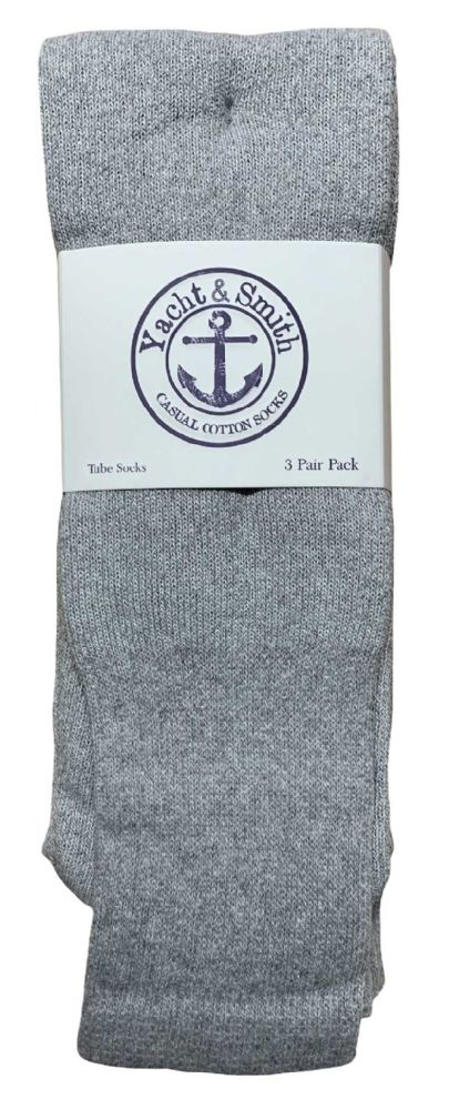 Yacht & Smith Men's 32 Inch Cotton King Size Extra Long Gray Tube SockS- Size 13-16