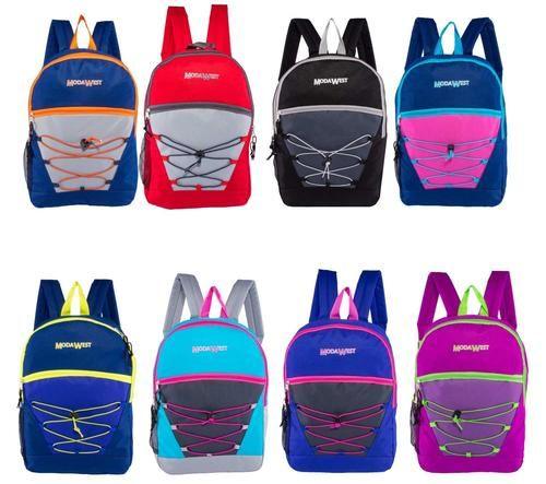 Classic Bungee Wholesale Backpacks in 8 Assorted Colors