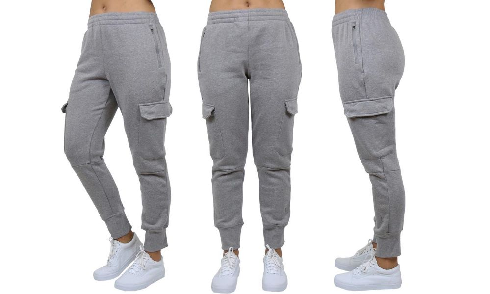 Womens Fleece-Lined Loose-Fit Cargo Joggers Assorted Sizes Solid Gray