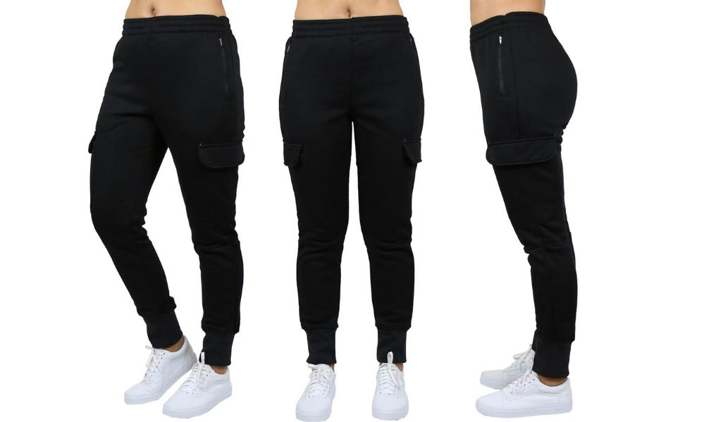Womens Fleece-Lined Loose-Fit Cargo Joggers Assorted Sizes Solid Black