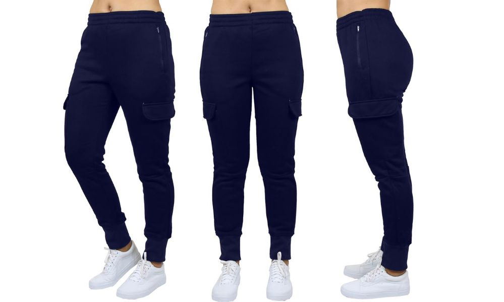 Womens Fleece-Lined Loose-Fit Cargo Joggers Assorted Sizes Solid Navy