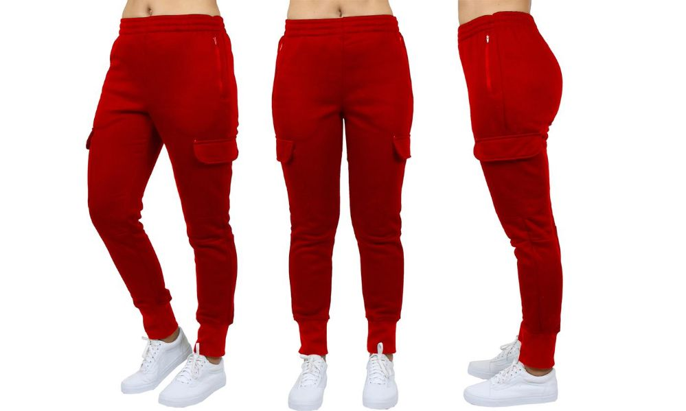 Womens Fleece-Lined Loose-Fit Cargo Joggers Assorted Sizes Solid Red