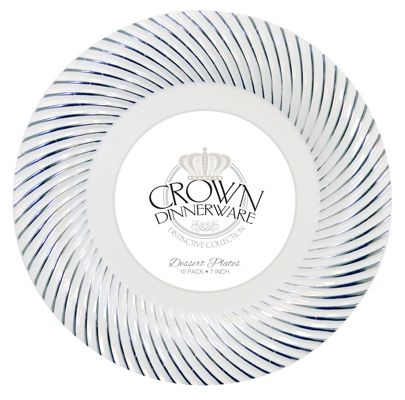 CROWN DINNERWARE DESSERT PLATE 7 INCH 10 PACK DISTINCTIVE COLLECTION WHITE/SILVER