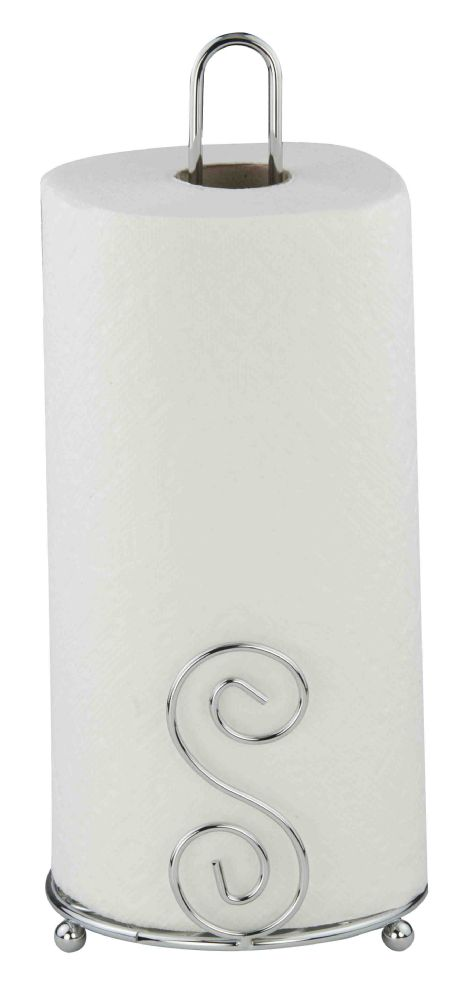 Home Basics Scroll Collection Free-Standing Paper Towel Holder, Chrome