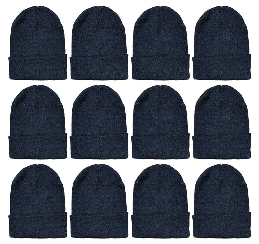 Yacht & Smith Black Beanies Bulk Thermal Winter Hat Solid Black
