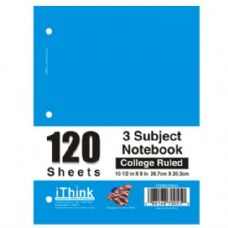Spiral Notebook 3 Subject College Rule