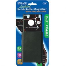 """BAZIC 2"""" X 2"""" Retractable 2x Lighted Magnifier"""