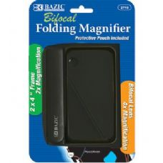 "Bazic 2"" X 4"" Folding 2x Magnifier & 4x Bifocal Inset W/ Protective Pouch"