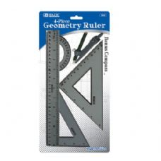 BAZIC 4-Piece Geometry Ruler Combination Sets w/ Compass