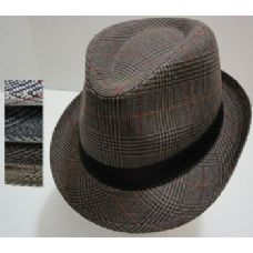 Fedora Hat-Plaid with Solid Hat Band