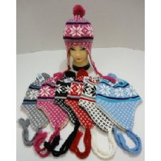 Knit Cap with Ear Flap and PomPom-Snowflakes