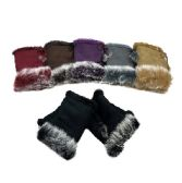 Women's Suede with Fur Fingerless Gloves