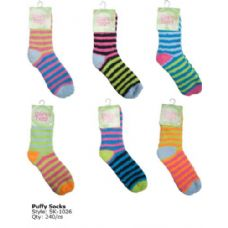Neon Stripe Fuzzy Sock