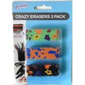 Crazy Fashion Pencil Erasers 3 Pack
