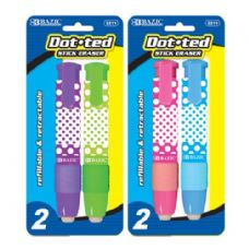BAZIC Dot.ted Retractable Stick Erasers (2/Pack)