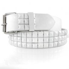 Pyramid Studded White Belt