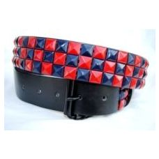 Pyramid Studded Blue & Red Belt