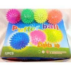 12 pcs Light Up Spike Ball assorted color great for kid