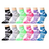 Ladies Zebra Print Ankle Sock