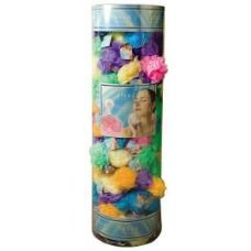 Viva 45 Gr. Exfoliating Bath Sponge w/ Suction Cup In Round Canister Display (Assorted Colors