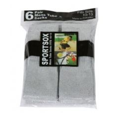 Mens 6 Pair Sport Tube Sock Size 10-13 Grey Color Only