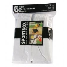 Mens 6 Pair Sport Tube Sock Size 10-13 White Color Only