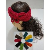 Hand Knitted Ear Band [Solid Color LOOP w Bow]