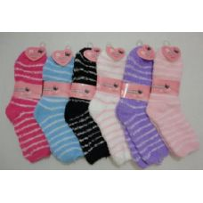 Fuzzy Socks 9-11 [Thin Stripes]