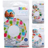 "20"" LIVELY PRINT SWIM RINGS IN PEGABLE POLY BAG, 3 ASSRT"