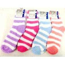 Large Stripes Fuzzy Sock Assorted Colors